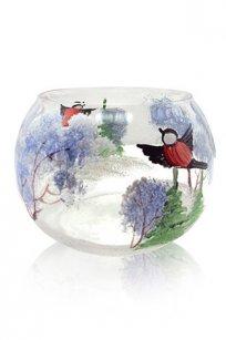 сувенир ручная роспись прозрачный Подсвечник № 1 d100.h70 мм. рис. Снегири