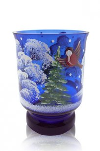 сувенир ручная роспись синий Подсвечник № 3 d80.h100 мм. рис. Снегири