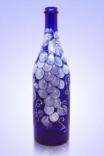 Бутыль синяя Литр 1л. d90.h320 мм. рис. Виноград Бел.