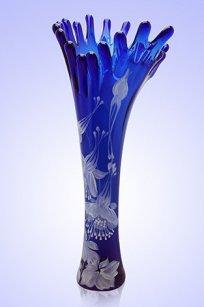 Ваза синяя Коралл h380 мм. рис. № 1 Бел.