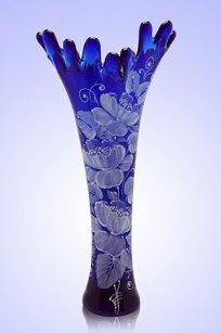 Ваза синяя Коралл h380 мм. рис. № 15 Бел.