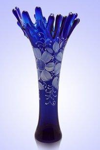 Ваза синяя Коралл h380 мм. рис. № 6 Бел.