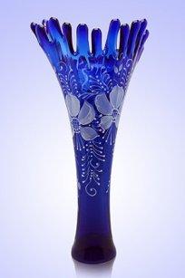 Ваза синяя Коралл h380 мм. рис. № 7 Бел.