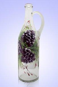 Бутыль прозрачная Литр руч. 1л. d90.h320 мм. рис. Кедр
