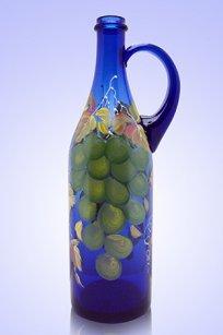 Бутыль синяя Литр руч. 1л. d90.h320 мм. рис. Виноград Зел.