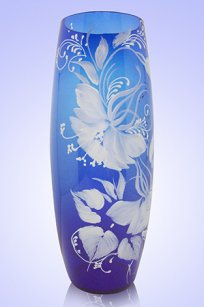 Ваза синяя Бочка h260 мм. рис. № 1 Бел.
