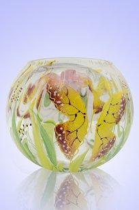 Ваза прозрачная Шар риф. d135.h110 мм. рис. Бабочки Ж.К.З.