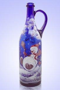 Бутыль синяя Литр руч. 1л. d90.h320 мм. рис. Снеговик № 4