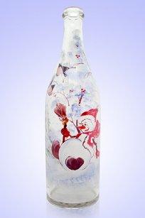 Бутыль прозрачная Литр 1л. d90.h320 мм. рис. Снеговик № 4