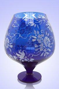 Ваза синяя Бокал 1,8л d155h200 мм рис. № 17 Бел.