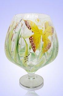 Ваза прозрачная Бокал 1,8л риф. d155h200 мм рис. Бабочки Ж.К.З.