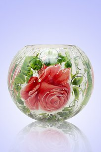 Ваза прозрачная Шар риф. d180.h160 мм. рис. Роза З.Р.