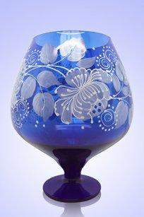 Ваза синяя Бокал 1,8л d155h200 мм рис. № 3 Бел.