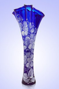 Ваза синяя Волна h400 мм. рис. № 6 Бел.