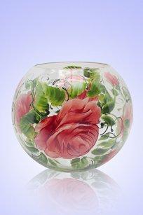 Ваза прозрачная Шар d180.h160 мм. рис. Роза З.Р.
