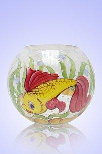 Ваза прозрачная Шар d180.h160 мм. рис. Рыбка № 2