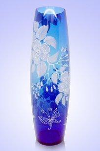 Ваза синяя Бочка h400 мм. рис. № 19 Бел.