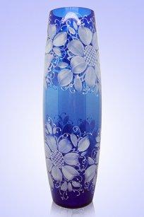 Ваза синяя Бочка h400 мм. рис. № 6 Бел.