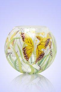 Ваза прозрачная Шар d180.h160 мм. рис. Бабочки Ж.К.З.