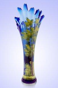 Ваза синяя Коралл h280 мм. рис. Лето