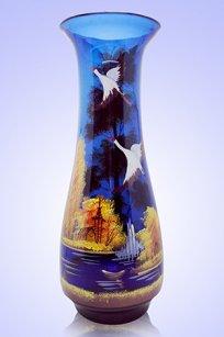 Ваза синяя С-112 дробь 2 h400 мм. рис. Осень