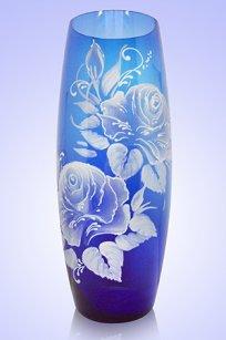 Ваза синяя Бочка h260 мм. рис. Роза Бел.
