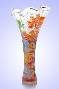 Ваза прозрачная Волна h400 мм. рис. Осень