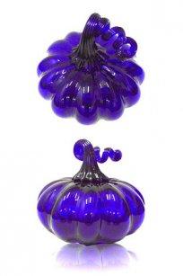 Сувенир Тыква d130.h120 мм. из синего стекла