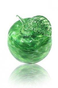 Сувенир стеклокрошка Яблоко h90 мм. Зел.