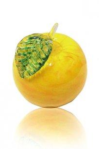 Сувенир стеклокрошка Яблоко h90 мм. Ж.З. лист