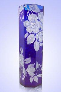 Ваза синяя Восьмигранник d100.h300 мм. рис. № 19 Бел.
