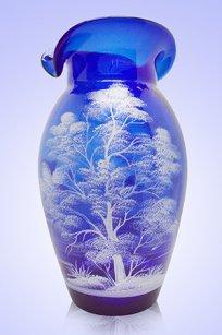 Ваза синяя С-55 h240 мм. рис. № 5 Бел.