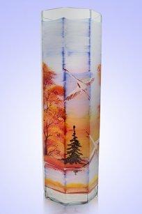 Ваза прозрачная Восьмигранник d100.h300 мм. рис. Осень