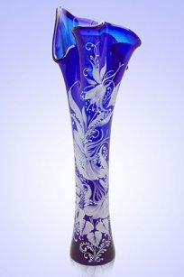 Ваза синяя Волна h400 мм. рис. № 1 Бел.