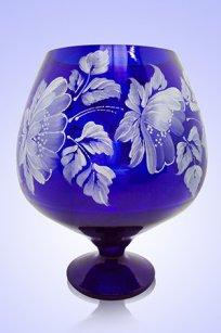 Ваза синяя Бокал 1,8л d155h200 мм рис. № 16 Бел.
