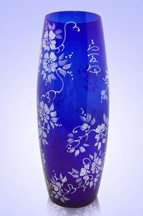 Ваза синяя Бочка h300 мм. рис. № 17 Бел.