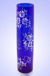Ваза синяя Цилиндр d80.h300 мм. рис. № 17 Бел.