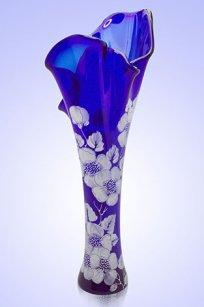 Ваза синяя Волна h400 мм. рис. № 9 Бел.