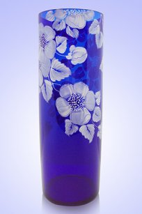 Ваза синяя Цилиндр d100.h300 мм. рис. № 9 Бел.