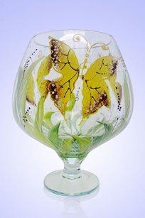 Ваза прозрачная Бокал 1,8л d155 h200 мм рис. Бабочки Ж.К.З.