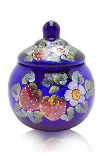 сувенир ручная роспись синий Ларчик Шар d100.h110 мм. рис. Клубника