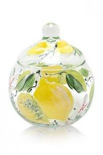 сувенир ручная роспись прозрачный Ларчик Шар d100.h110 мм. рис. Лимон