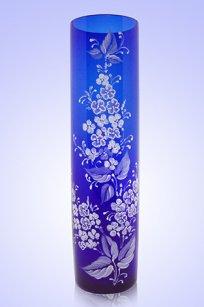 Ваза синяя Цилиндр d80.h300 мм. рис. Сирень Бел.