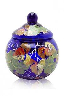 сувенир ручная роспись синий Ларчик Шар d100.h110 мм. рис. Виноград Зел.
