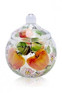 сувенир ручная роспись прозрачный Ларчик Шар d100.h110 мм. рис. Яблоки