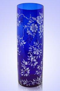 Ваза синяя Цилиндр d100.h300 мм. рис. № 17 Бел.