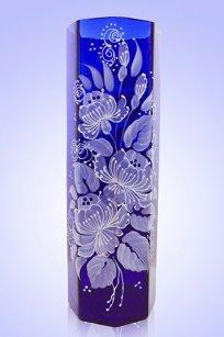 Ваза синяя Восьмигранник d100.h300 мм. рис. № 3 (Бел.)