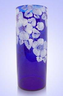Ваза синяя Цилиндр d120.h300 мм. рис. № 9 Бел.