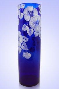 Ваза синяя Цилиндр d120.h400 мм. рис. № 9 Бел.