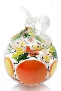 сувенир ручная роспись прозрачный Ларчик Яблоко d100.h120 мм. рис. Апельсин